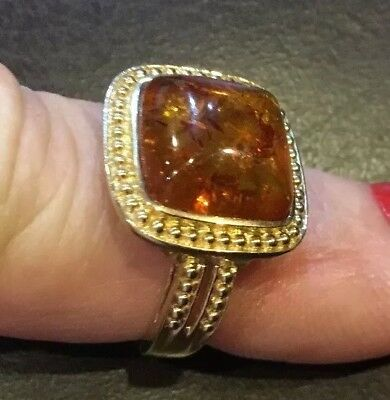 10k GOLD RING WITH A LARGE BEZEL SET AMBER IN BEAUTIFUL BYZANTINE  STYLE RING