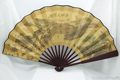 Vintage Chinese Palace Bamboo Fabric Coated Paper Hand Folding Fan Home Decor #3