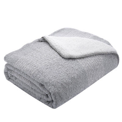 "50"" X 60"" Throw Blanket Boucle Surface Sherpa Reversible Throw Blanket Gray"
