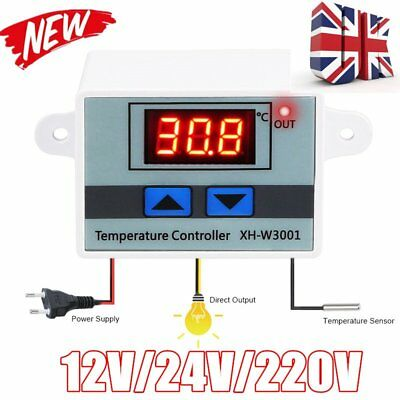 LCD 12/24/220V Digital LED Temperature Controller Thermostat Control Switch UK