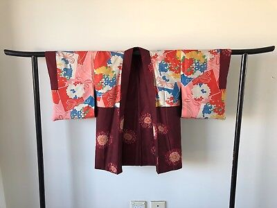 Japanese Vintage Woven Silk Haori Jacket Costume Hand Made in Japan Old Kyoto