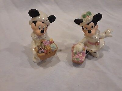 Lenox Disney Mickey and Minnie Mouse Christmas figurines Christmas set of 2
