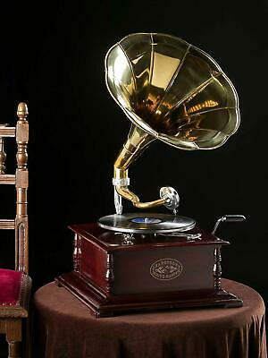 Gramophone Player 78rpm Round phonograph Brass Horn HMV Vintage Wind up