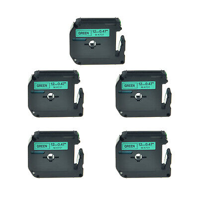 5PK 12mm Black on Green Lable Tape M-K731 MK731 M731 For Brother P-touch 65VP 85