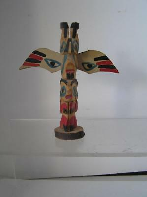 Vintage wood carved Totem Pole Raven and Bear from Alaska 1950