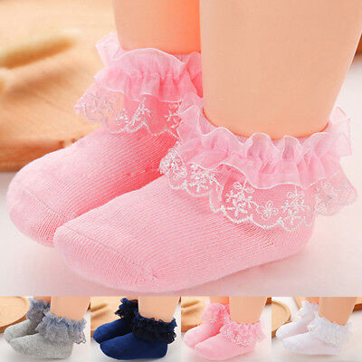 Kids Girl Lace Ruffle Frilly Cotton Ankle Short Socks Baby Princess Girls infant