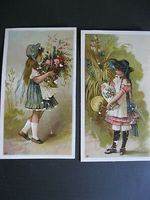 Victorian Trade Card 1800's PRETTY Girls Vase Fan Wheat Flower Basket Scraps 42