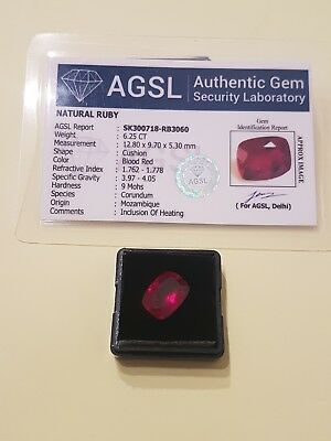 6.25ct Rubino naturale CERTIFICATO AGSL CUSHION cut VVS blood/red verify online