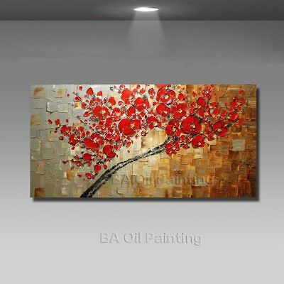 Handmade Abstract Canvas Red Oil Paintings Decoration Modern Art 1pcs Large Wall