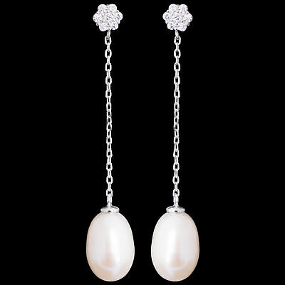 46X9Mm 100% Natural 10X8Mm White Freshwater Pearl Sterling Silver 925 Earring