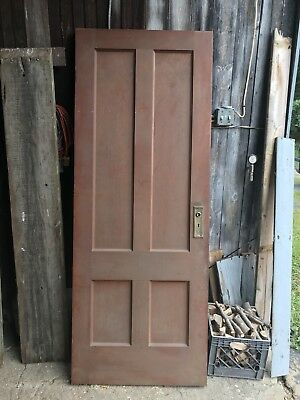 Vintage Solid Wood 4 Panel House Door 78x30