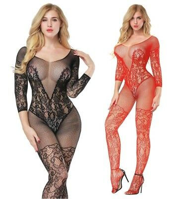 Fishnet Dungeon Restraint Floral Bodystocking Night Party Lingerie UK Size: 8-14
