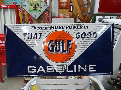 Gulf Gasoline Embossed Modern  Sign Embossed Licensed By Gulf Usa