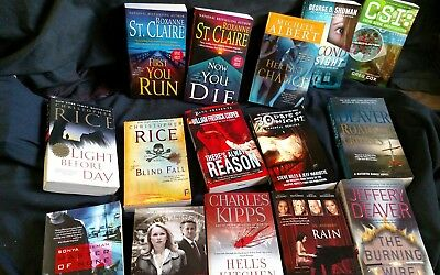 Lot Of 15 Fiction PB Books: Terror Adventure Mystery New Old Stock Unread