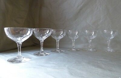 6 Antique Edwardian Petal Cut Crystal Champagne Glasses, Faceted Stem, h10,4cm