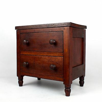Late 19th C Pennsylvania Miniature Walnut & Pine Paneled Chest of Drawers - VR
