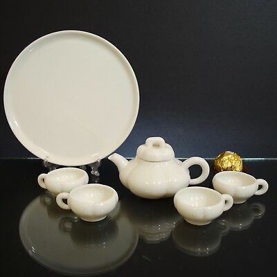 Antique Chinese Blanc De Chine, Dehua Porcelain Tea Set, White, Republic