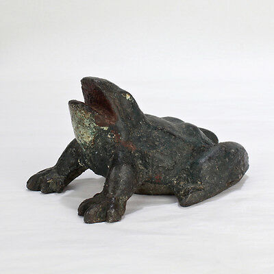 Old or Antique Painted Cast Iron Frog Doorstop - Folky Toad Door - VR