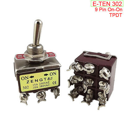 12mm 9 Pin 2 Position On-On TPDT Toggle Switch 15A250V Latching E-TEN 302