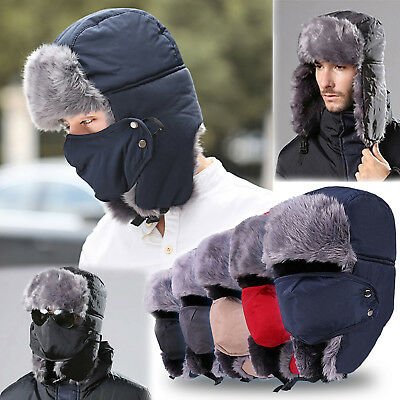 Women Men Family Warm Winter Fur Trapper Mask Cap Russian Earflap Ski Hat Hiking