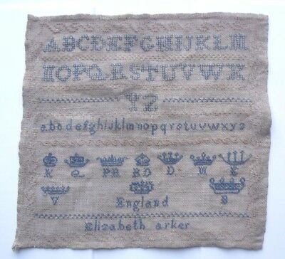 Antique 19th Century Sampler by Elizabeth ?arker. English Crowns & Coronets.