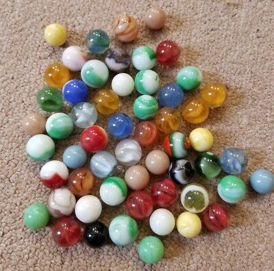 vintage akro agate Marbles lot of 56 antique estate corkscrew swirl