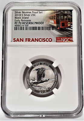 2018-S Silver 25C Block Island Quarter NGC PF70 REVERSE PROOF - Early Releases -