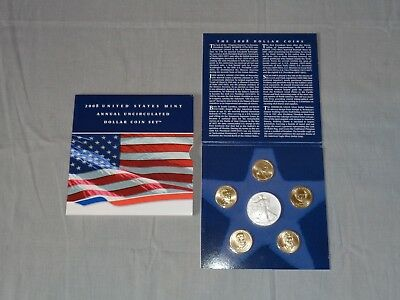 2008 US MINT Annual Uncirculated DOLLAR COIN SET W/ SILVER American Eagle & COA
