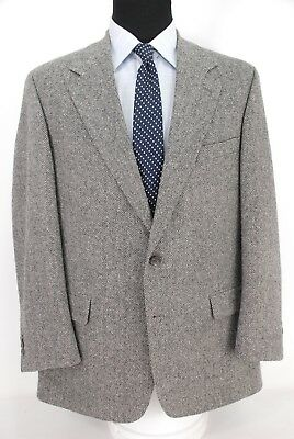 Brooks Brothers 2Btn Gray Herringone Tweed Sport Coat Jacket Men's 43R