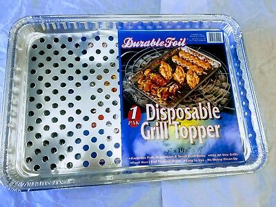 "6 Pack Disposable Grill Topper Foil Pans 15"" X 10 3/8"" X 3/4"" Barbecue No Mess"