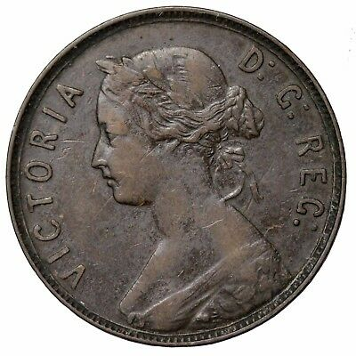 1880 Newfoundland Canada Large One Cent Low 0 Queen Victoria KM#1 Canadian Coin