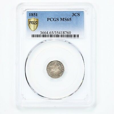 1851 Three Cent Silver 3CS PCGS Certified MS65 Choice Original Eye Appeal