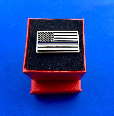 Police Thin Blue Line Flag Police Blue Lives Matter Lapel Hat Pin (New)