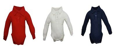 Girls polo collar with frill  long sleeve baby vests, grow, romper, bodysuit