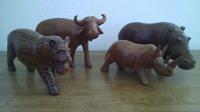 Hand Carved Wooden Animals Made in Kenya Hippo Rhino etc