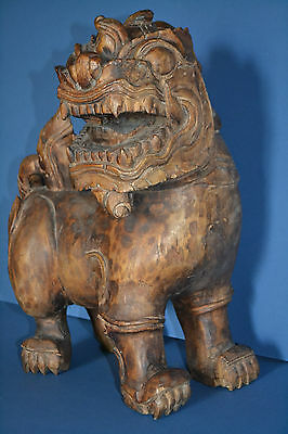Large Antique Early 20th Century Chinese Hand Carved Wood Kaolin,c 1910