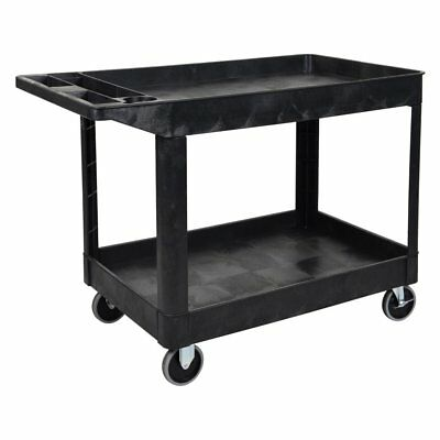 Luxor Rolling Plastic Two Shelf Commercial Heavy-Duty Storage Organizer Utility