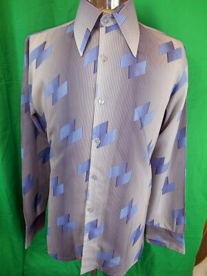 Vintage 1970s Blue Patterned Polyester Emka Long Sleeve Disco Party Shirt Medium
