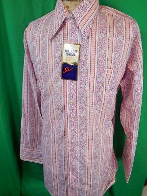 Vintage 60s 70s Groovy Psych Red Purple Patterned Dress Shirt NOS Never Worn XL
