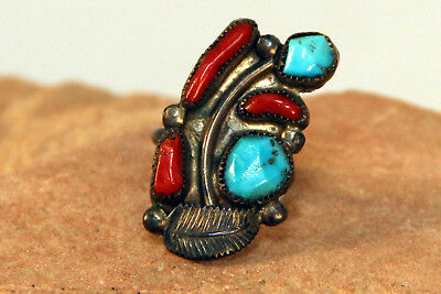Navajo Sterling Silver, Turquoise, Branch Coral Ring c.1970 Size 7 1/4