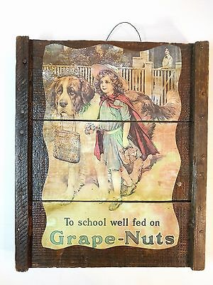 Vintage 'To School Well Fed on Grape-Nuts' Wood Mounted Sign Americana Repro