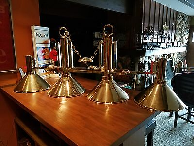 Solid Brass Arts & Crafts Mission Style 4 Shade Island or Billiards Light