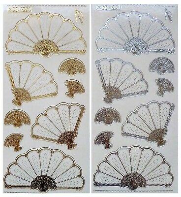Embossed Embroidery FANS Peel Off Stickers Gold or Silver on Clear Card Making