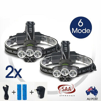 2x 90000LM Headlamp Headlight 5 CREE LED Rechargeable XM-L T6 Q5 Fishing Camping