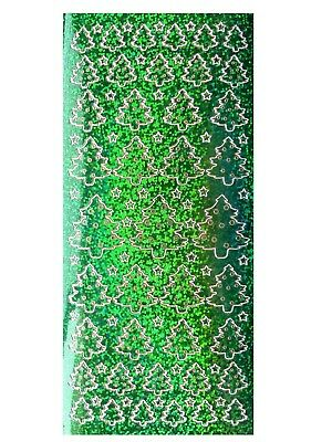 CHRISTMAS GREEN SHIMMER TREES Peel Off Stickers Stars Card Making