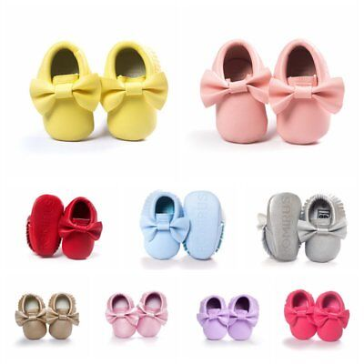 Baby Girls Tassel Bowknot PU Leather Shoes Soft Sole Crib Moccasin Walker 0-18M