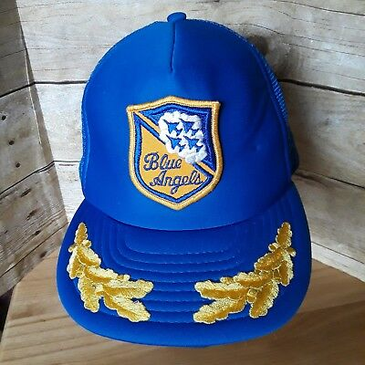 2dbe9ac8c08 VTG 80S BLUE ANGELS United States US NAVY TRUCKER HAT Snapback Cap ...