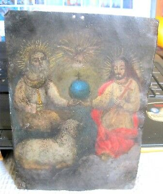 Original Antique Retablo On Tin With The Image Of The Holy Trinity