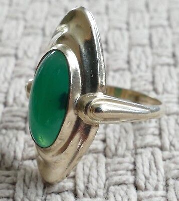 Ring Chrysopras Cabochon Gold Duoble  Vintage 60er ring gold double