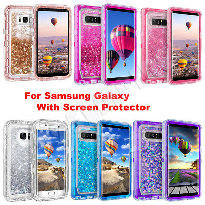 Samsung Galaxy S9 Plus/Note 8/9 Liquid Glitter Defender Case Clip Fits Otterbox